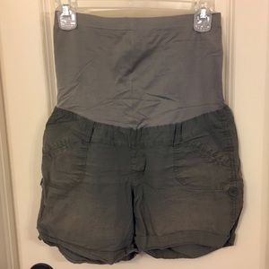 Pants - Gray Full Panel Maternity Shorts